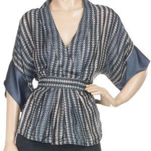 Antik Batik Goni kimono top blue silk blouse Sz M